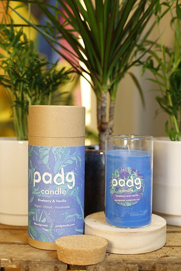 Blueberry and Vanilla - Large cork padg candle