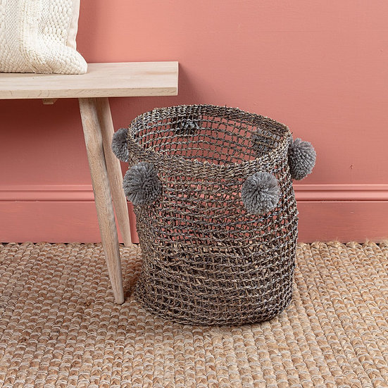 Inaya Pom Pom Basket Grey