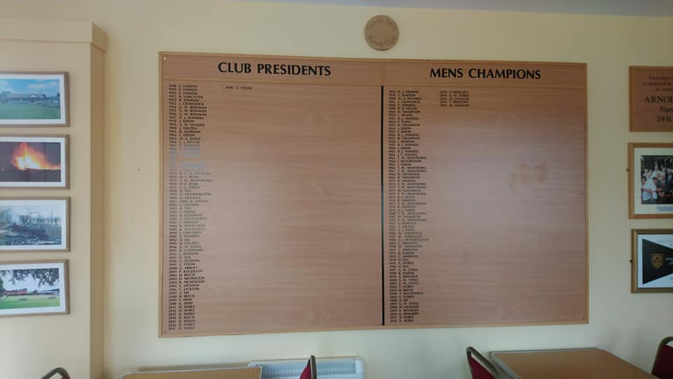 Our Mens Champion and President boards