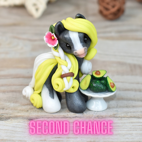 Avocado - (Second Chance) - Handmade polymer clay pony - tiny size