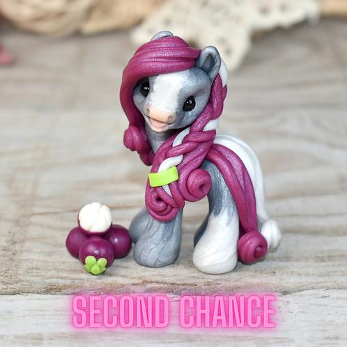 Mangosteen - (Second Chance) - Handmade polymer clay pony - tiny size