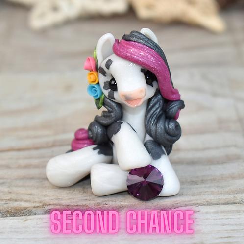 February - (Second Chance) - Handmade polymer clay pony - tiny size