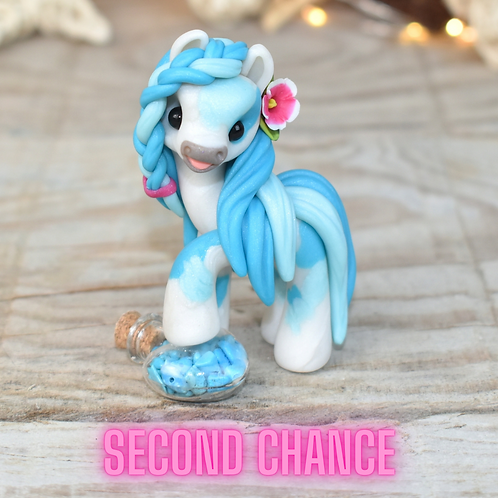 Turquoise - (Second Chance) - Handmade polymer clay pony - tiny