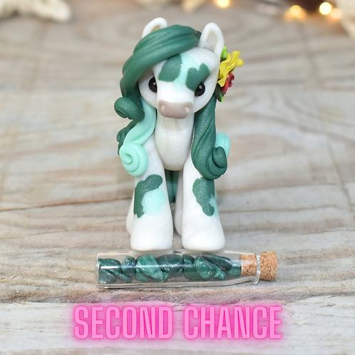 Malachite - (Second Chance) - Handmade polymer clay pony - tiny