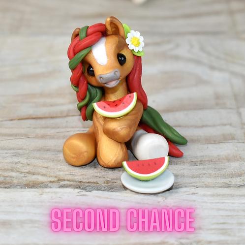 Watermelon - (Second Chance) - Handmade polymer clay pony - tiny size