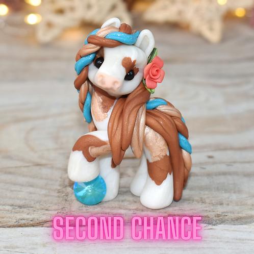 December - (Second Chance) - Handmade polymer clay pony - tiny