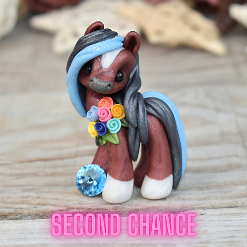 March - (Second Chance) - Handmade polymer clay pony - tiny size