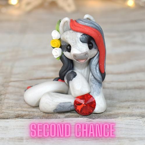 July - (Second Chance) - Handmade polymer clay pony - tiny