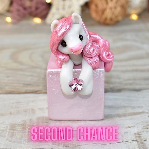 Pinky Cloud - (Second Chance) - Handmade polymer clay pony - tiny
