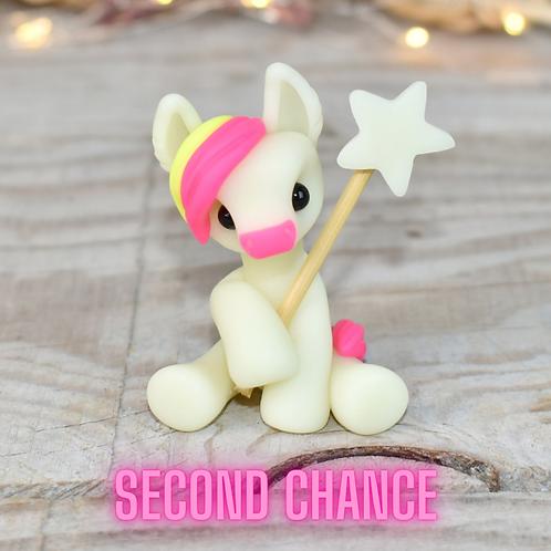 Pink GITD - (Second Chance) - Handmade polymer clay donkey