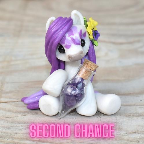 Amethyst - (Second Chance) - Handmade polymer clay pony - tiny