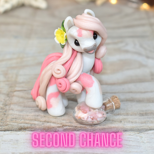 Pink Opal - (Second Chance) - Handmade polymer clay pony - tiny
