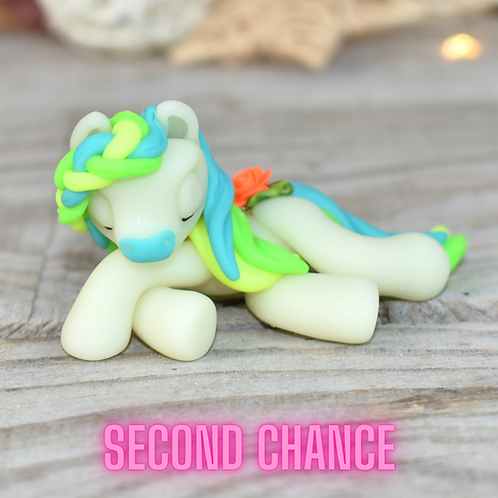 Turquoise GITD - (Second Chance) - Handmade polymer clay pony