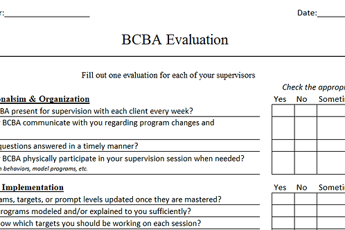 BCBA Evaluation