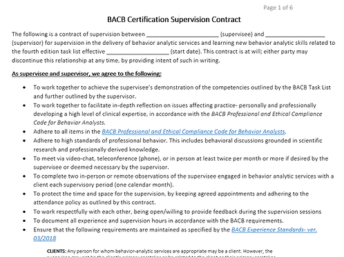 2019 BACB Supervision Contract