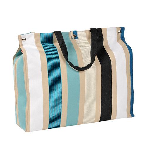 "Artiga Beach Bag Garlin Bleu 100% cotton - inside coated - 19.5""x5.5""x14"""
