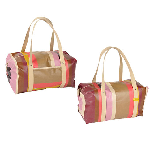 "Sports and travel duffel bag oilcloth coated 100% cotton - 17.7""x10"" - Artiga"