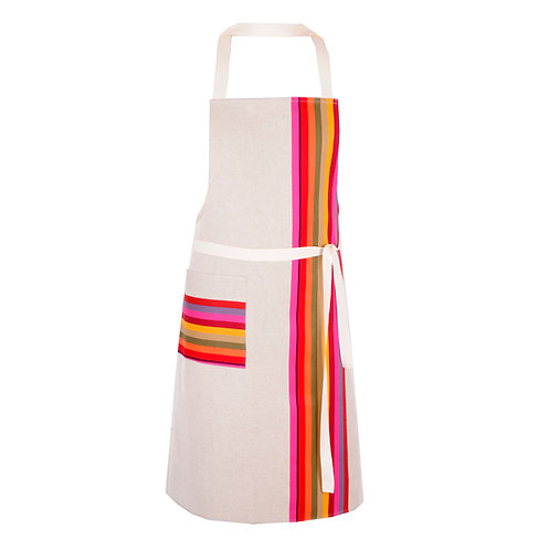 "Apron adjustable Mauleon Fushia 100% cotton - 30.5""x35.5"" - Artiga"