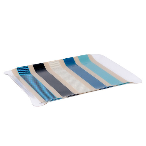 """Large Kitchen Tray Garlin Bleu - cotton acrylic resin 15""""x19"""" Artiga"""