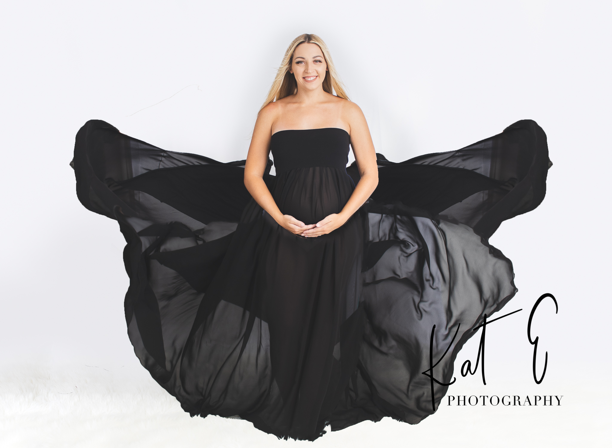Black Strapless Chiffon Dress