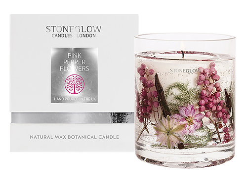Pink Pepper Flowers Gel Vase Candle