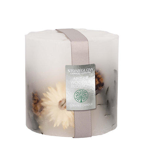 Amber Woods & Blossom Pillar Candle