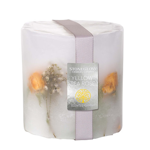 Yellow Tea Rose Pillar Candle