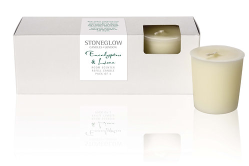 Eucalyptus & Lime Refill Candles (Pack Of 3)