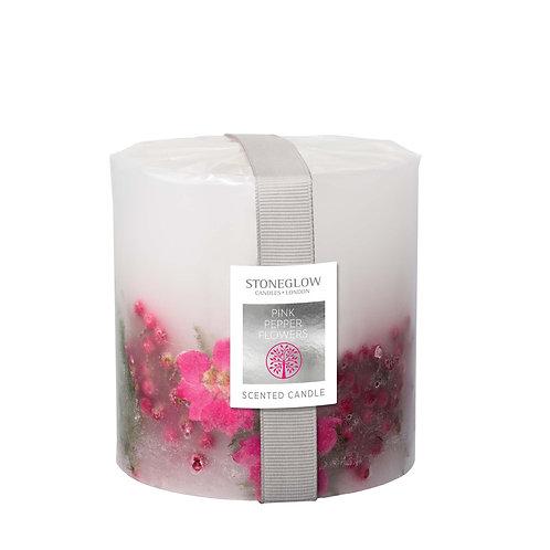 Pink Pepper Flowers Pillar Candle