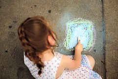 Canva - Little Girl Drawing on Pavement