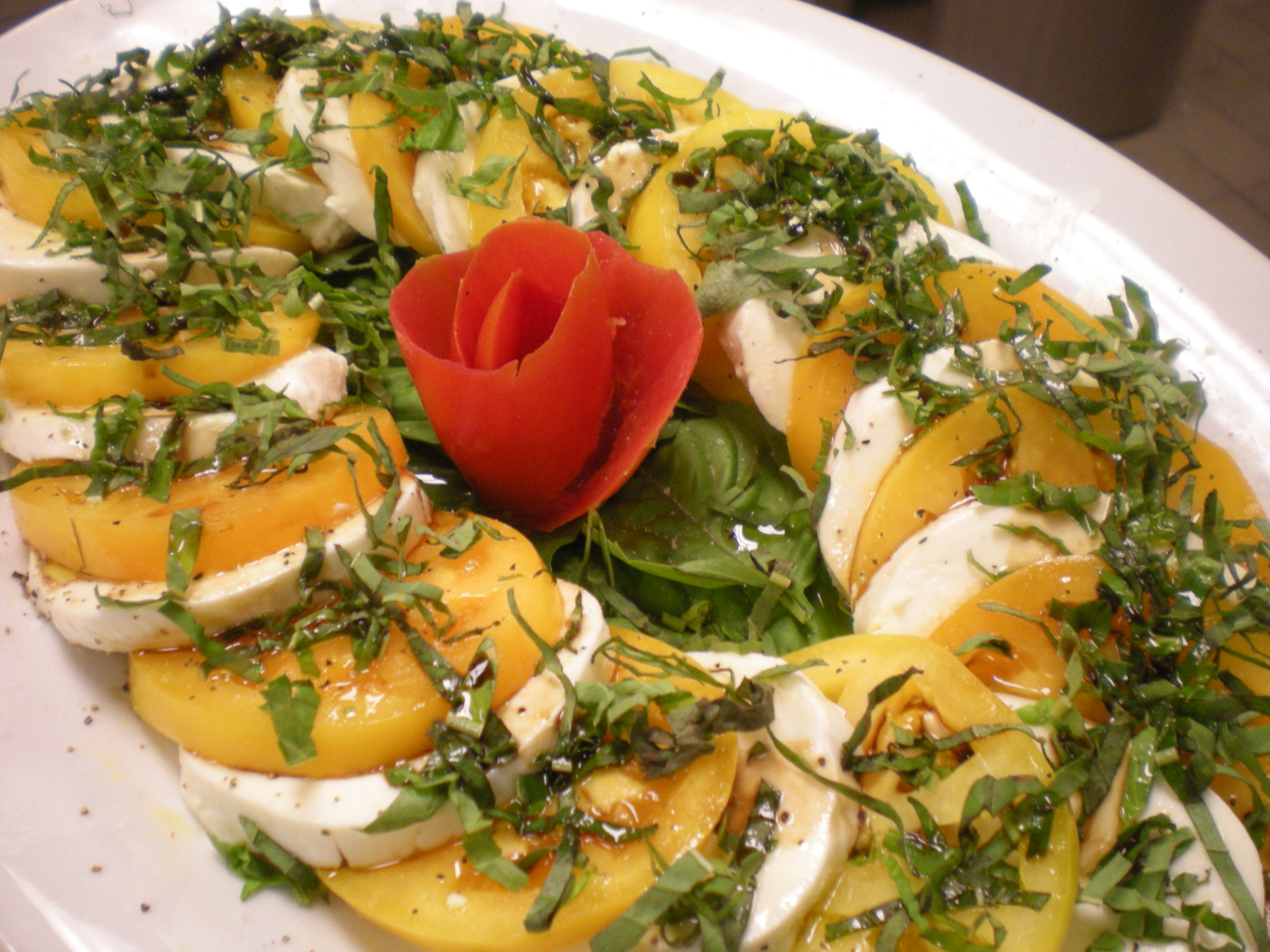Yellow Heirloom Tomato Caprese Salad