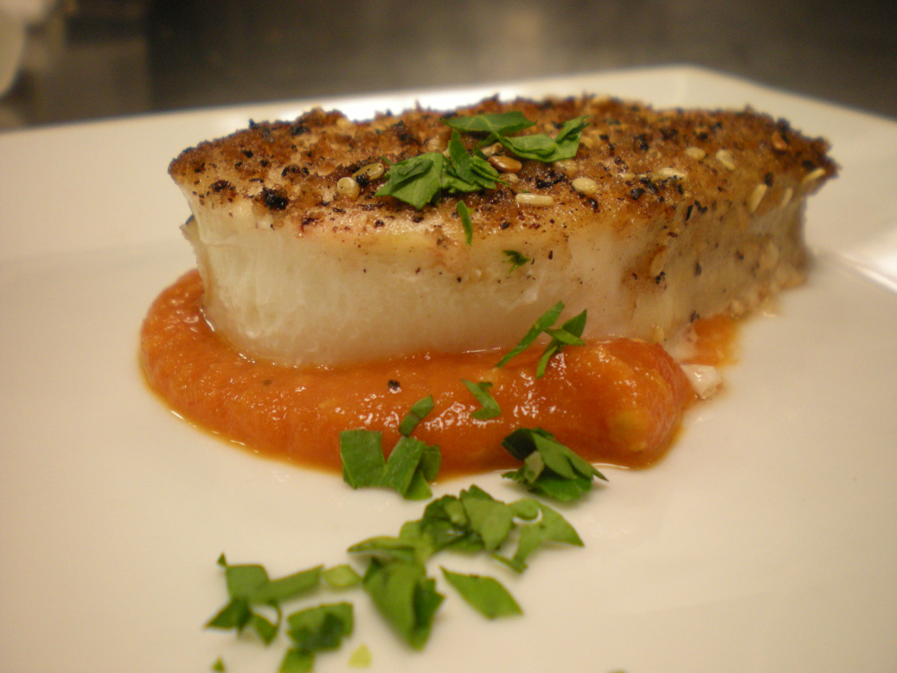 Pan Rosted Coriander Halibut with Tomato Coulis