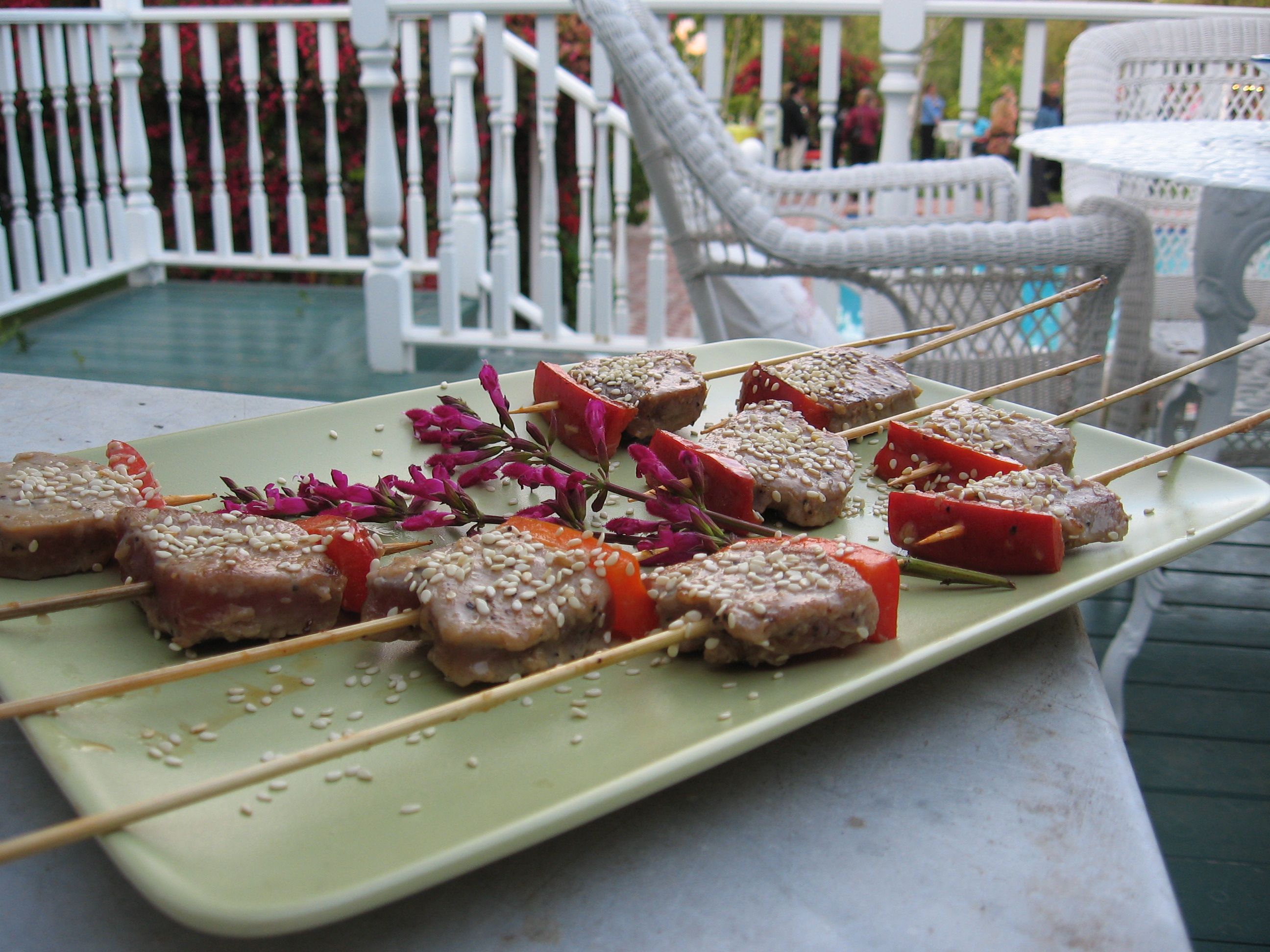 Seared Ahi Tuna Skewers with Red Bell Pepper and Sesame
