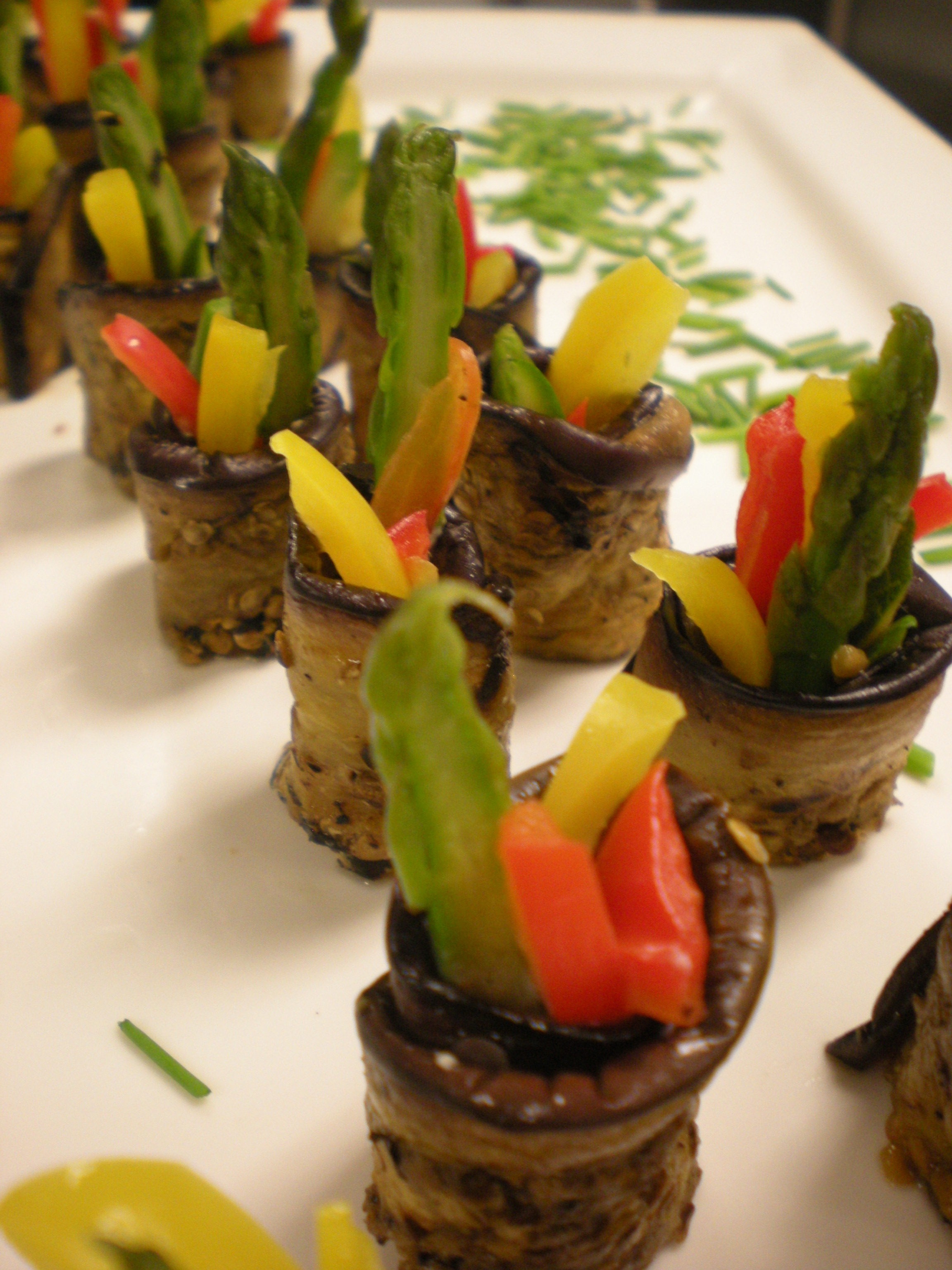 Grilled Eggplant Sushi with Jullienne Vegetables