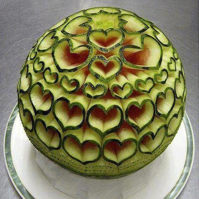 Hearts carved in a watermelon