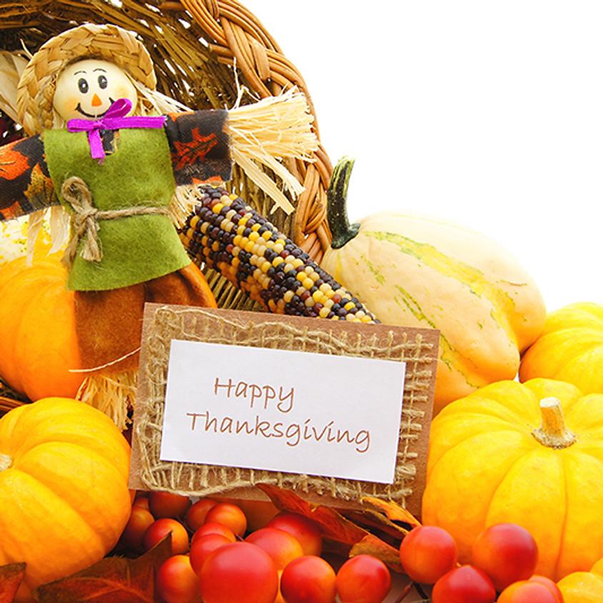 No Bible Study: Happy Thanksgiving!