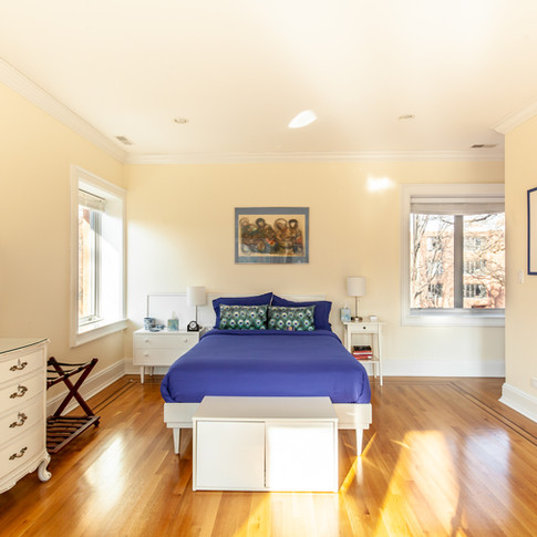 Queen and single bed with new oak and walnut flooring