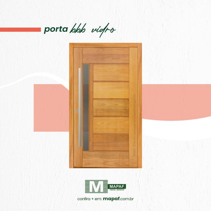 Porta BBB Visor Lateral com Vidro em Madeira Maciça Tauari MAPAF