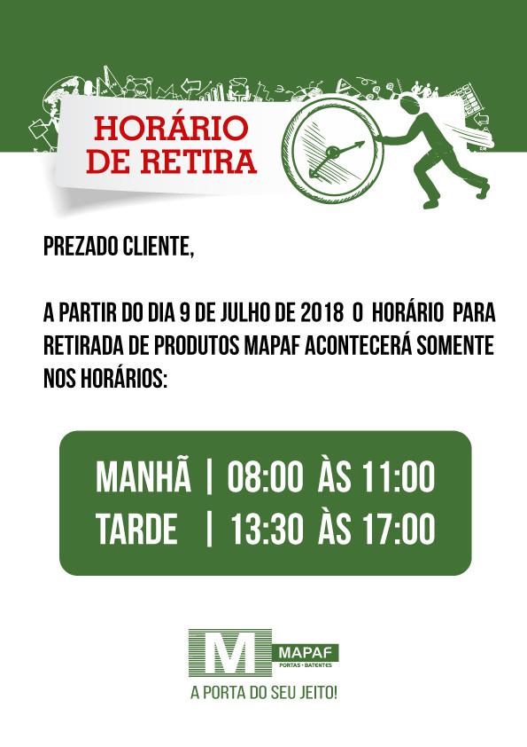 ATENÇÃO AOS HORÁRIOS PARA RETIRADA DE MERCADORIAS EM NOSSO CD!