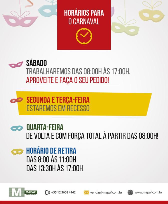 ATENÇÃO AOS NOSSOS HORÁRIOS DURANTE O CARNAVAL!