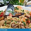 Sea food & Saffron spaghetti with cherry tomato