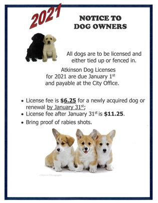 2021 Dog License Notice