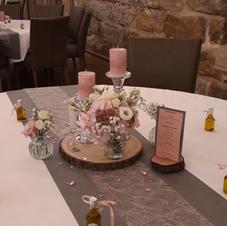 Tischdekoration Vintage Wedding Rosé & Grau