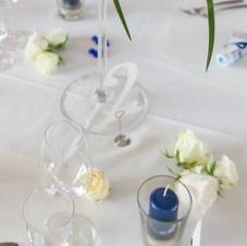 Kerzengläser und Tischnummern