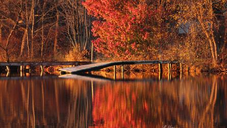 A fall dock at Guilford Lake