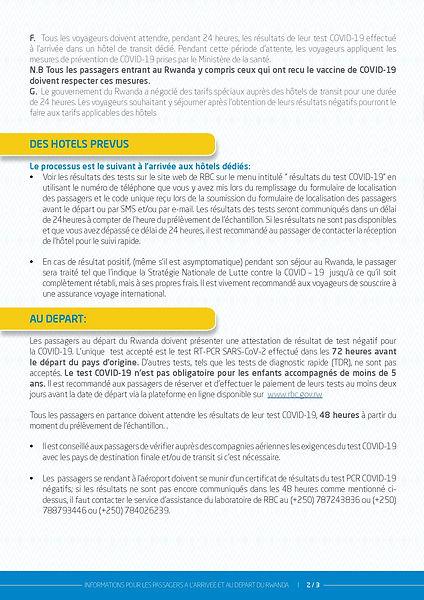 INFORMATIONS SUR LA COVID 19 A L ARRIVÉ