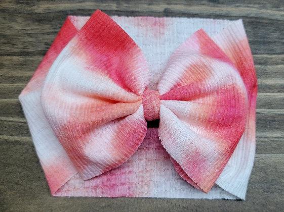 Pink Tie-Dyed Waffle Bow Child Headband