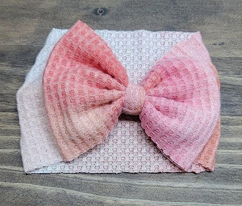 Blush Tie-Dyed Waffle Bow Child Headband