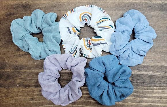 Pale Rainbow Scrunchie Set