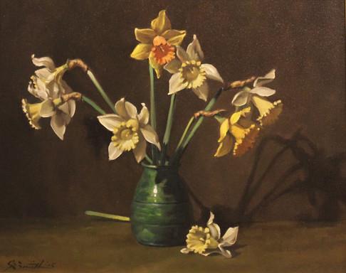 Daffodils in Green Glaze